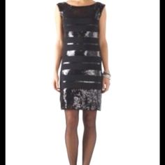 Stunning WHBM Medium Dress Like New WHBM Medium Special Occasion Dress With Shimmering Strips of  Black Sequins.  This Dress is Hot. Loose fit....Poly/Spandex Mix....smoke Free Home....Top Rated Seller White House Black Market Dresses
