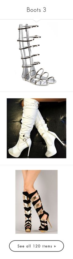 """""""Boots 3"""" by emma-frost-98 ❤ liked on Polyvore featuring shoes, sandals, flats, gladiator, grey, leather gladiator sandals, silver metallic sandals, metallic gladiator sandals, strappy sandals and strap sandals"""