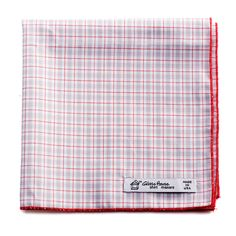 Glass House shirtmakers Reclaimed Grey Red Plaid Cotton Pocket Square