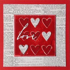 """Die schlichte Karte: Love III Stanze """"Tic Tac Toe"""" von SSS Stanze """"Handwritten Love"""" von Tim Holtz, Sizzix, Stampin´Up """"Dictionary"""""""