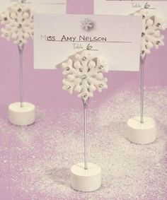 Winter Wonderland Centerpieces Sweet 16 | 80 Snowflake Winter Themed Place Card Holders - Wedding Favor - Free ...