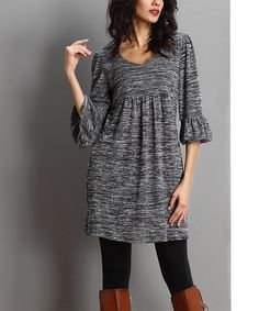 Look what I found on #zulily! Charcoal Melange Empire-Waist Bell-Sleeve Dress by Reborn Collection #zulilyfinds