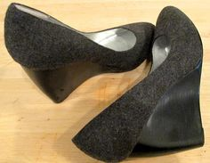 Gray Winter Felt Wedge Shoe.  Gray Pumps.  Gray by MISSVINTAGE5000