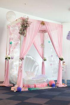 Mermaid photo booth from a Pastel Mermaid Party on Kara's Party Ideas | KarasPartyIdeas.com (21)