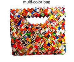 Good handle design with materials and process. Bag made from chip bags.