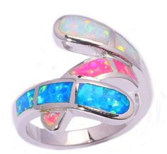 Twisted Taffy Lab Created Blue Pink White Fire Opal; Sterling Silver Plated Ring