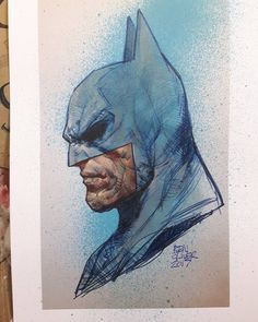 "6,917 Likes, 33 Comments - Ben Oliver (@benoliverart) on Instagram: ""Printed out the Batman biro sketch and added some paint #dccomics #batman"""