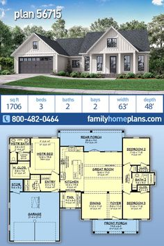 Country House Plan is 1706 Sq Ft, 3 Bedrooms, 2 Bathrooms and a 2 Car Garage - Trend Fun Design 2019 House Layout Plans, Family House Plans, Ranch House Plans, Craftsman House Plans, Bedroom House Plans, Country House Plans, New House Plans, Dream House Plans, Modern House Plans
