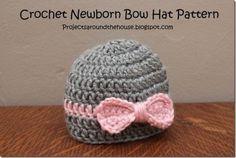 Crochet Newborn Easy Bow Hat FREE Pattern by deeann.nebraska