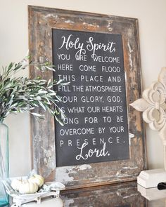 """Happy Sunday, friends!  I just have to share my happy mail from yesterday.  This gorgeous sign from @houseofbelonging finally arrived, and it was well worth the wait!  I just love the words, which are lyrics from a beautiful song by Kari Jobe, called """"Holy Spirit,"""" and the reclaimed wood frame is to die for!"""
