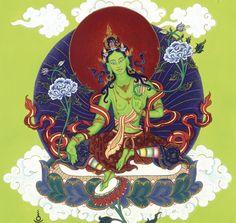 The Green Tara mantra, Om Tare Tuttare Ture Svaha, entreats to the compassion and the guidance that Goddess Tara can offer to devotees. Tara Goddess, Divine Goddess, Tibetan Art, Tibetan Buddhism, Green Tara Mantra, Buddhist Wisdom, Buddhist Art, Painting Teacher, Thangka Painting