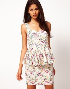 Enlarge Paprika Floral Print Peplum Dress with Cage Back - Asos