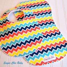 Feelin' Groovy!!! -  Baby Bib and Burp Cloth Set  -  Chevron Timeless   by Sugar Chic Baby