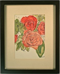 Pink and red roses bouquet Original fine art by amostroutstudio $90