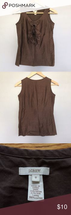 J.Crew Brown Ruffle Sleeveless Tank Top Size 0 The ribbons are a little frayed on the end, but there are no holes or stains. J. Crew Tops Tank Tops