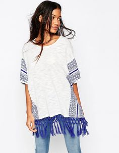 ASOS Knit Poncho with Tassle and Pattern Detail