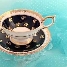 Vintage Aynsley Tea Cup Bone China Teacup Set by VintageTeacupShop