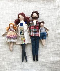 The family dolls are dress-up cloth dolls made for active, quiet and imaginative play for children of all age.  Made in a pet free, smoke free environment, she is approximately 13 inches (33cm) tall. The clothes are closed with Velcro making them easy to put on and take off. . Their bodies may be cleaned with a damp cloth. Gentle play is recommended.  The clothes are made with new ,vintage and recycled fabric.  The family comes with the following  Mommy doll with cotton dress Daddy doll…