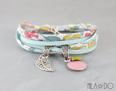 Liberty Betsy Pastel and white Flowers cord pastel blue suede - charm bracelet - Fabric bracelet - Black friday sale