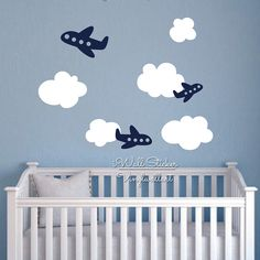 re Nuages Avion Wall Sticker Nuages de Bande Dessinée Avion Sticker Enfants Chambre Wall Sticker Enfants Dé Wall Stickers Cartoon, Kids Room Wall Stickers, Airplane Nursery, Baby Boy Rooms, Baby Room Decor, Kids Decor, Decoration, Cartoon Clouds, Pink And Grey Rug