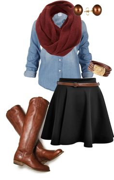 """cute"" by mckantack on Polyvore love this outfit, but would want the skirt much longer... at least past my knees."