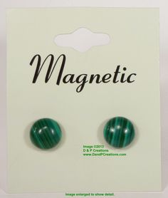 10mm Malachite Green Magnetic Earrings