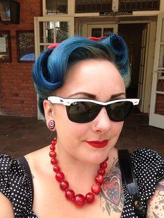 Blue rockabilly hair
