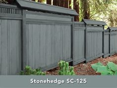 Behr's Solid Color Weatherproofing Wood Stain in Stonehedge - Fence Paint Colours, Deck Stain Colors, Deck Colors, Exterior Paint Colors, House Colors, Backyard Fences, Backyard Landscaping, Landscaping Ideas, Backyard Plan