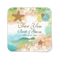"""Beach theme wedding favor """"For you"""" Square Sticker"""