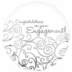 Engagement congratulations standard foil balloon http://www.wfdenny.co.uk/p/engagement-congratulations-balloon/3276/
