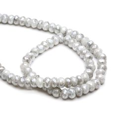 Silverite Faceted Rondelle Beads, Approx 6x4mm by Kernowcraft