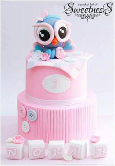 ...pink owl cake