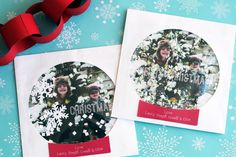 DIY Snowglobe Christmas Card.  Place a Christmas photo (with a Christmas message photoshopped in if you wish)  in a paper CD sleeve and add some fake snow to make a snowglobe to mail to all of your friends and family. On Simply Radiant.