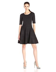 Ivanka Trump Womens Elbow Sleeve Fit and Flare Sweater Dress -- Click image to review more details.