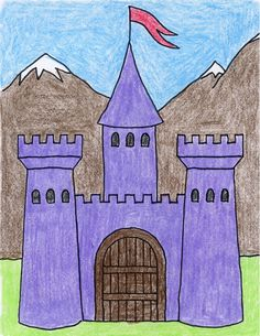 Draw a Castle · Art Projects for Kids Draw a Castle · Art Projects for Kids,Worksheets There are many ways to draw a castle. Here's one with a fairy tale quality to it. Drawing Lessons For Kids, Easy Drawings For Kids, Art For Kids, Castle Drawing, Medieval Art, Medieval Castle, Medieval Times, Easy Art Projects, Fairytale Art