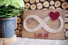 Infinity string art decor with custom dates and red heart decor. Put your (or your friends) special dates on your wall with style :) Made with high quality golden nails and threads which makes finished product more elegant and sophisticated. This could be a great gift for a bridal shower, wedding, anniversary, engagement party or Valentines day. Surely you can just buy it to yourself and don't give as a gift :D