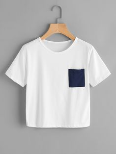 Patch Chest Pocket TeeFor Women-romwe
