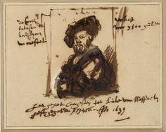 Portrait of Baldassare Castiglione (after Raphael) - Rembrandt van Rijn.  1639.  Pen and brown ink, white body color.  16.3 x 20.7 cm.  Graphische Sammlung Albertina, Vienna, Austria.