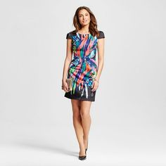 Women's Scuba Capsleeve Abstract Sheath Dress Black/Multicolor  - M by Maia