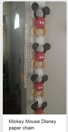 Try these Mickey Mouse paper chains for a cheap and easy way to decorate for your party. Theme Mickey, Fiesta Mickey Mouse, Mickey Mouse Clubhouse Birthday Party, Mickey Mouse 1st Birthday, Mickey Mouse Parties, 2nd Birthday, Birthday Ideas, Mickey Mouse Birthday Decorations, Mickey Mouse Classroom