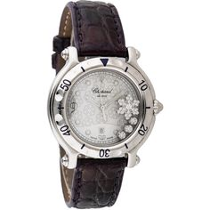 Pre-owned Chopard Happy Sport Diamond Snowflake Watch ($2,595) ❤ liked on Polyvore featuring jewelry, watches, engraved watches, diamond watches, sports jewelry, diamond dial watches and crown jewelry