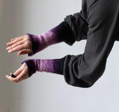 Hand felted wool wrist cuffs