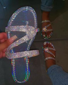 Women Summer Flat Bling Slippers Transparent Soft Jelly Shoes Female Flip Flops Sandals Outdoor Beach Ladies Slides Plus Size for Pregnant Woman – Lovekider Bling Sandals, Cute Sandals, Flip Flop Sandals, Shoes Sandals, Sparkly Sandals, Flip Flops, Rhinestone Sandals, Bling Shoes, Boho Sandals
