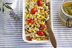 Grilled Corn Salad (mason jar mint dressing)