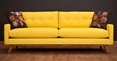 bright yellow couch with simple modern lines (fillmore sofa from thrive furniture)