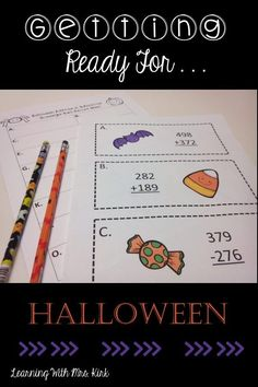 Great ideas for Halloween activities. Keep your students engaged while they practice Math Skills! Fun Math Activities, Halloween Activities, Halloween Ideas, Fourth Grade Math, Beginning Of The School Year, Math Workshop, Guided Math, Math Skills, Addition And Subtraction