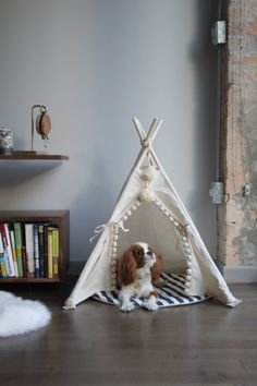 Pet tipi with poles and pad: 4 pole pet tipi teepee by Minicamplt