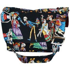 Day of the Dead Dancing and Romancing Black Messenger Bag by Hemet at Inked Boutique. This is a festive Day of the Dead Messenger purse with an adjustable strap for a comfortable fit.  This bag features feastive Catrinos and Catrinos dancing and romancing on  the day of the dead.  It is a fun piece that will be admired by everyone.  Interlined with a thick red poly-satin blend.  The craftsmanship in this item is neat and of great quality.  Side pocket (fits most thermos,cameras, etc.).  3…