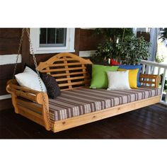"""Amish Cedar Wood 75"""" Marlboro Single Mattress Swing Bed ($572) ❤ liked on Polyvore featuring home, outdoors, patio furniture, outdoor loungers & day beds, amish patio furniture, outdoor furniture, outdoors patio furniture, outdoor garden furniture and cedar patio furniture"""