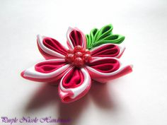 Julie - Handmade Floral Broach by Purple Nicole (Nicole Cea Mov), handmade kanzashi satin red - pink - white flower with green leaves